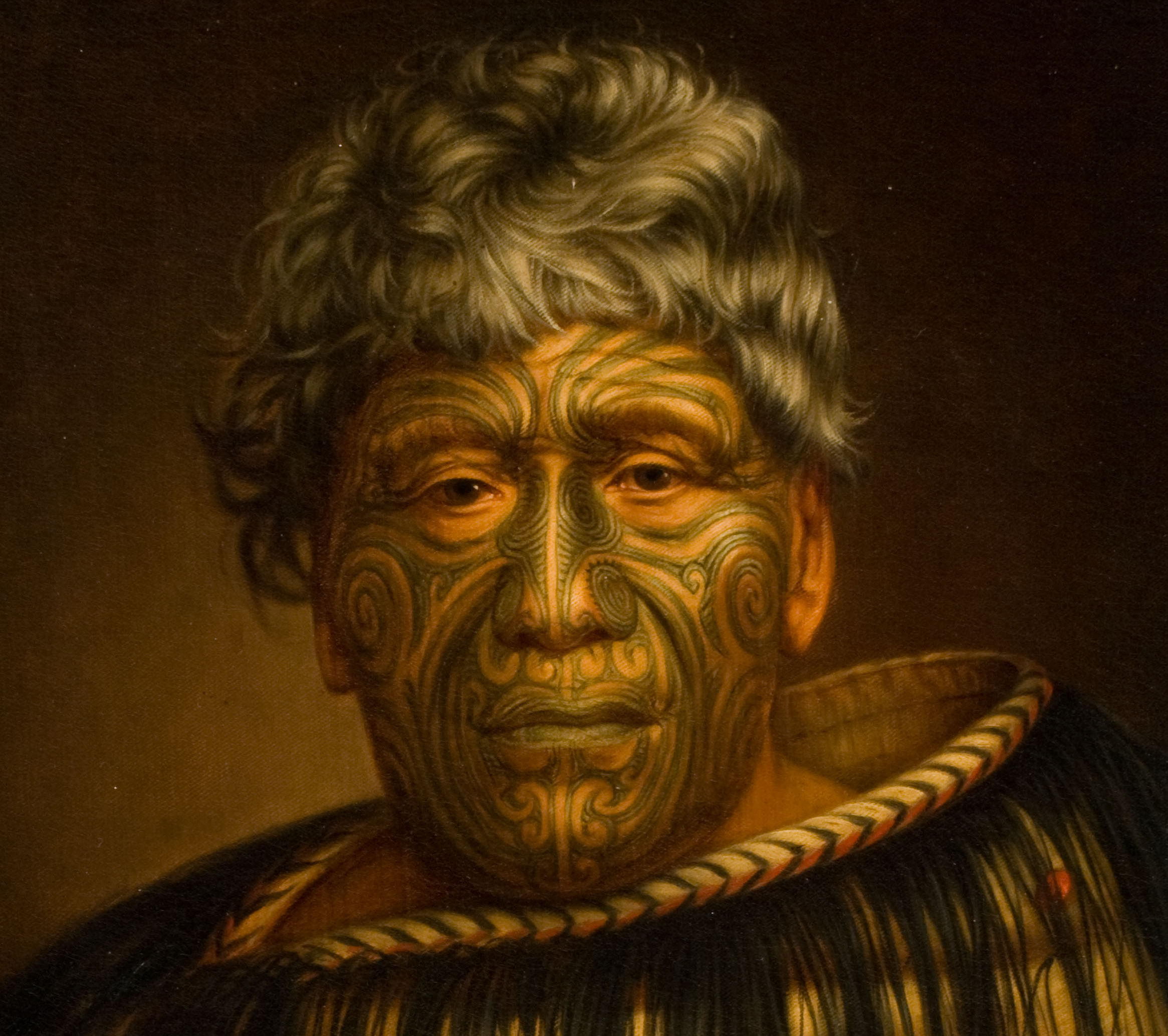 Oil On Velvet Painting Maori Chief